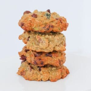 Kitchen Sink Cookies made with oats, dried cranberries, chocolate chips, pecans and zucchini... everything except the kitchen sink!