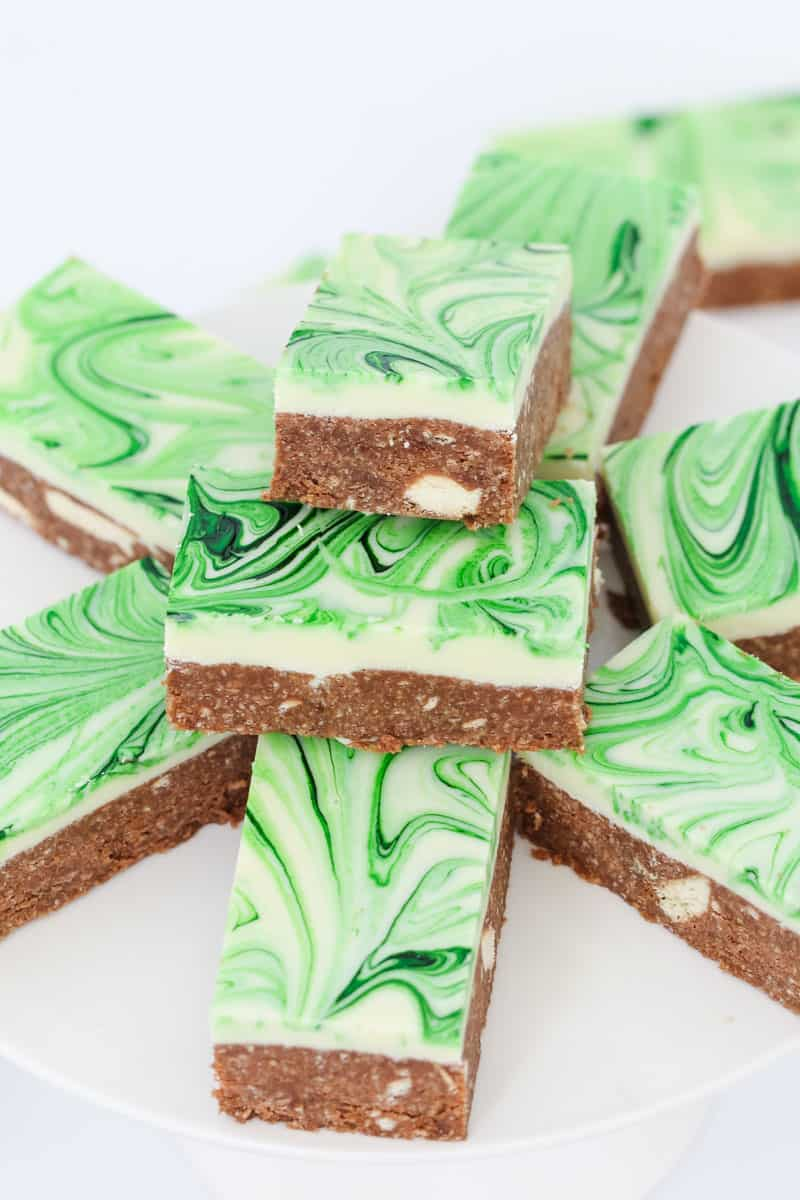 A green peppermint slice with white chocolate topping.