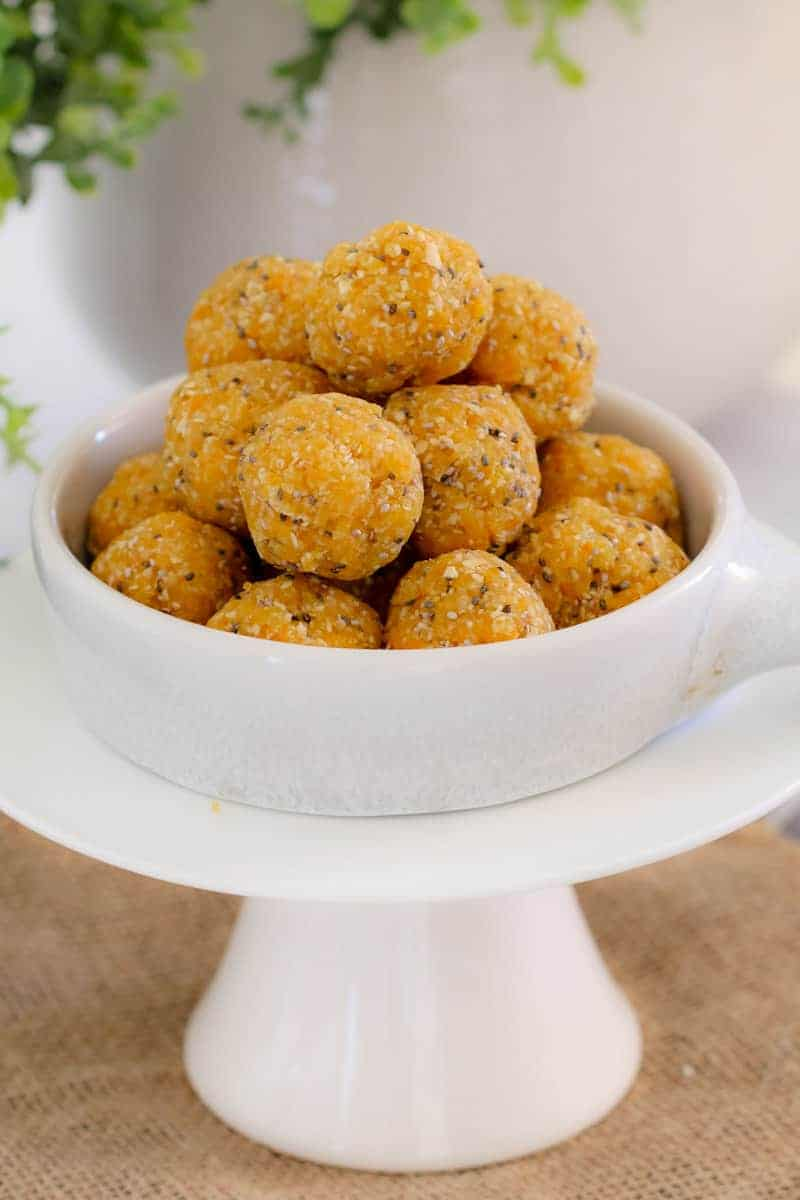 A bowl of Apricot bliss balls.