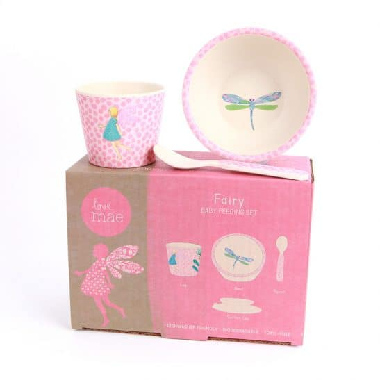 The gorgeous Love Mae range continues with this 3 piece Fairy Baby Feeding Set - including a beautiful bamboo bowl, cup and spoon. RRP: $25.00