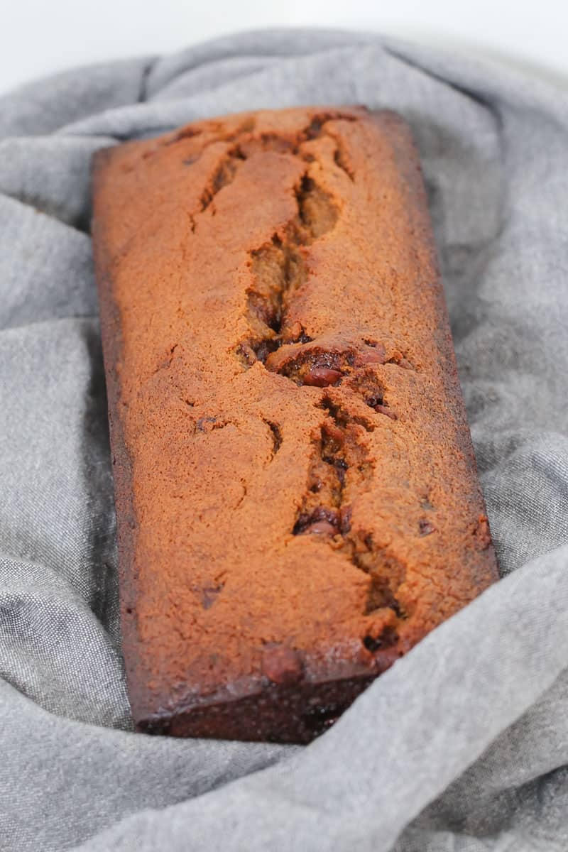 A loaf of banana and chocolate chip bread.