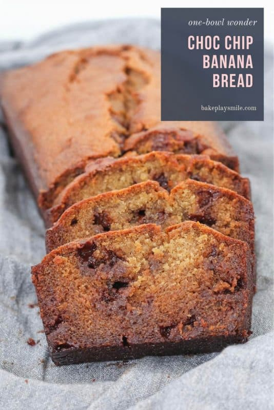 A simple one-bowl chocolate chip banana bread recipe that is so moist and delicious! Serve it cold or toasted warm and smothered with butter.