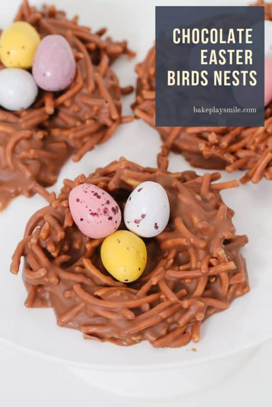 A simple 4 ingredient Chocolate Easter Birds Nests recipe made with Changs fried noodes, melted chocolate, peanut butter and mini Easter eggs.