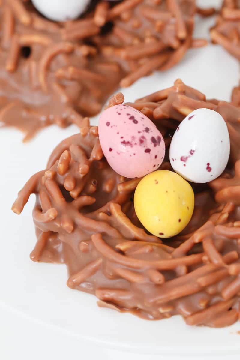 Pastel Easter eggs in a chocolate basket