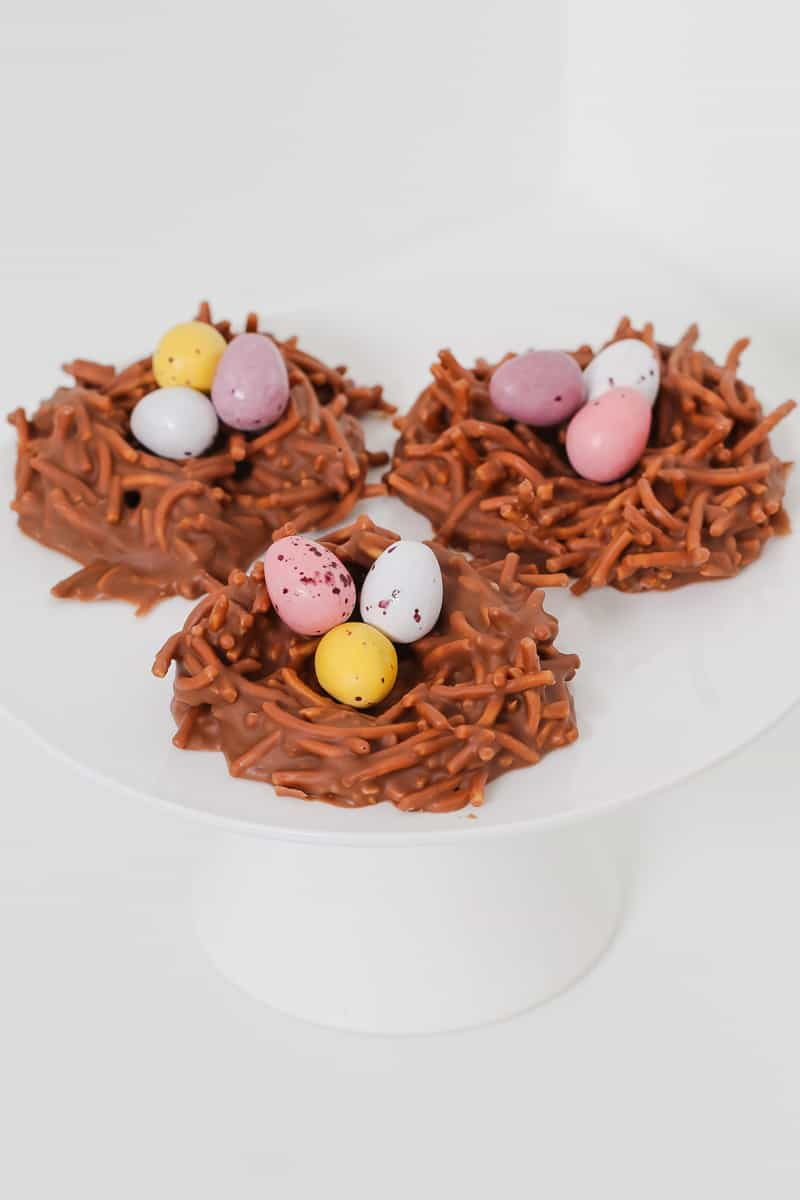 Changs fried noodles with melted chocolate and Easter eggs.