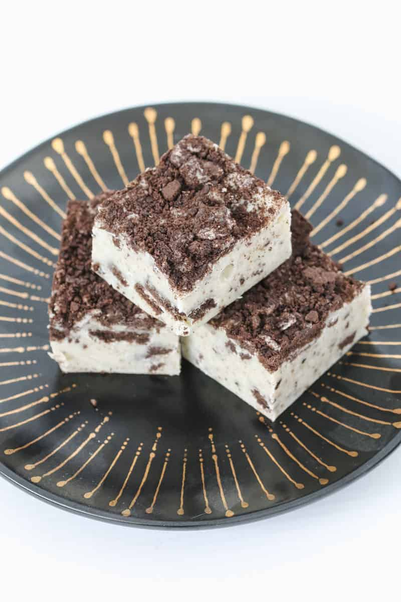 Oreos crushed over the top of a three ingredient fudge.