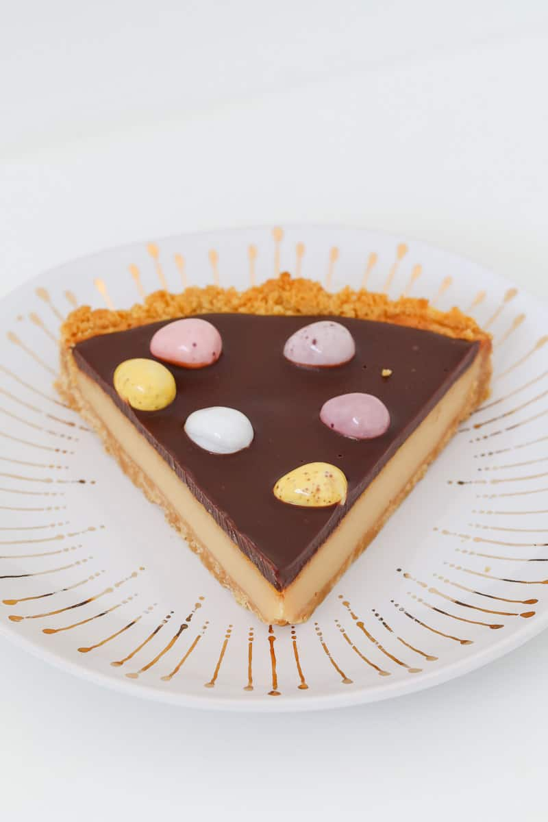 Easter eggs on top of a slice of chocolate tart tart.