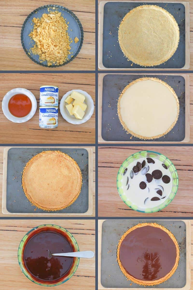 The steps to follow to make an Easter Chocolate Caramel Tart.