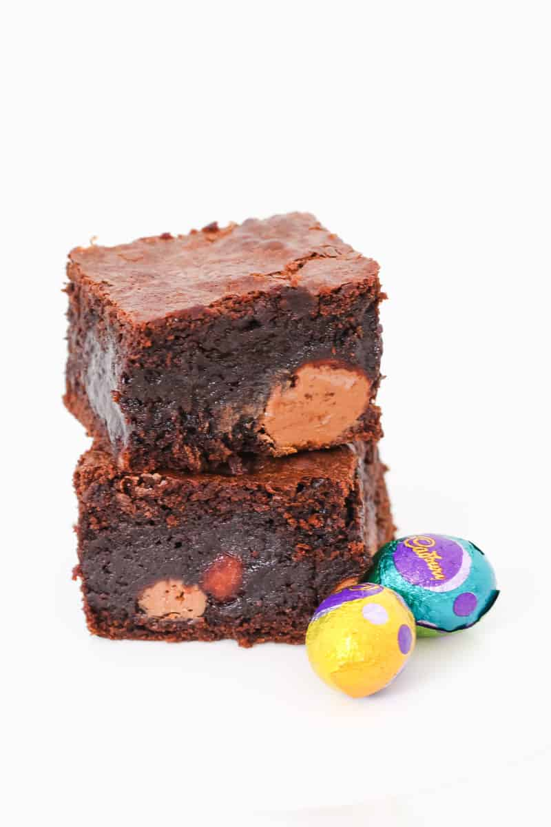 Solid Easter eggs inside rich pieces of chocolate brownie.