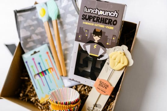 Inspire your little chef with our 'Superhero Kids Cooking Hamper' packed full of fun goodies! Including a Lunch Punch superhero sandwich cutter set, rainbow Stix, a cute cloud kids apron, cupcake cases, a cake tester and set of 2 mini spatulas. This is just the cutest gift!