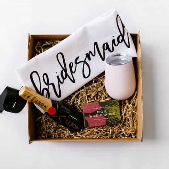Ask your besties the big question in style with our 'Will You Be My Bridesmaid?' hampers. The ultimate luxe gift is filled with a 200ml bottle of Moet champagne, a block of Pana gourmet chocolate, our bespoke 'Will You Be My Bridesmaid?' tea towel and a stainless steel wine tumbler.