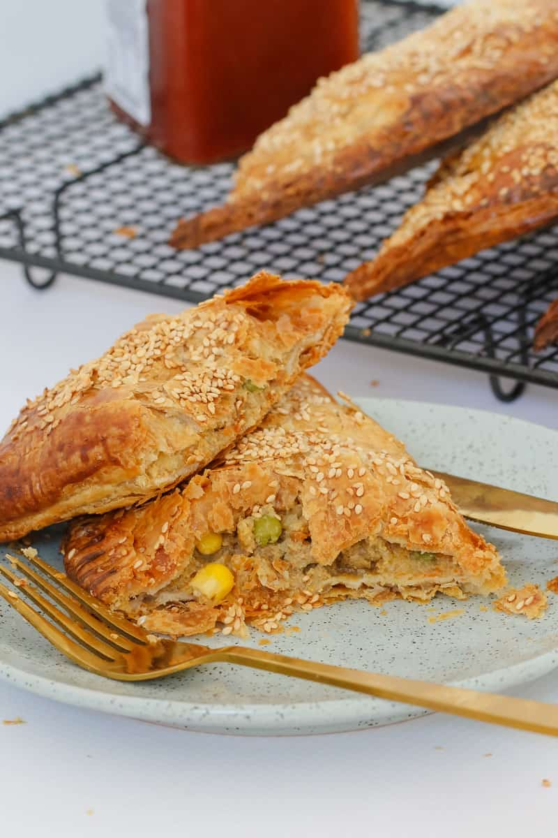 A lamb and vegetable pastie made with puff pastry.