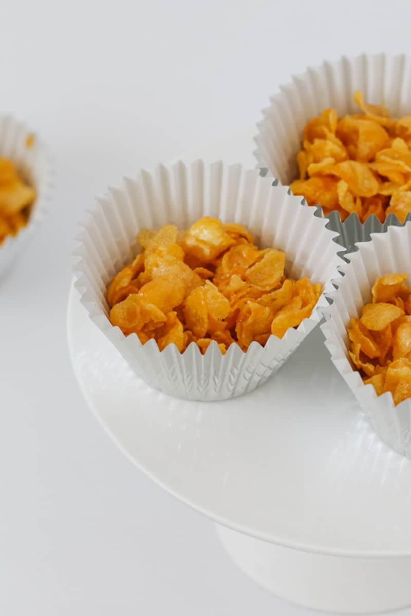 A classic honey joy with cornflakes in a muffin case.