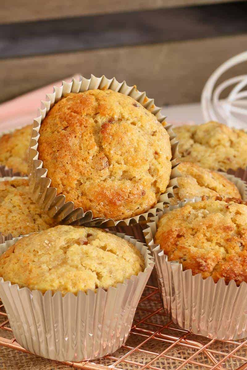 Muffins made with apple, banana, coconut and dates.