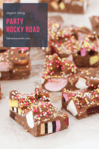 A fun party rocky road recipe made with milk chocolate, turkish delight, marshmallows, licorice allsorts and sprinkles!