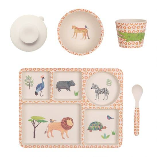 Bring out your little ones wild side with the On Safari 5 Pce Toddler Dinner Set from Love Mae. Made from bamboo and featuring beautiful African animals. RRP $39.00.