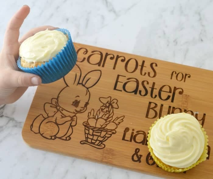 Carrot cake muffins for Easter with cream cheese frosting.