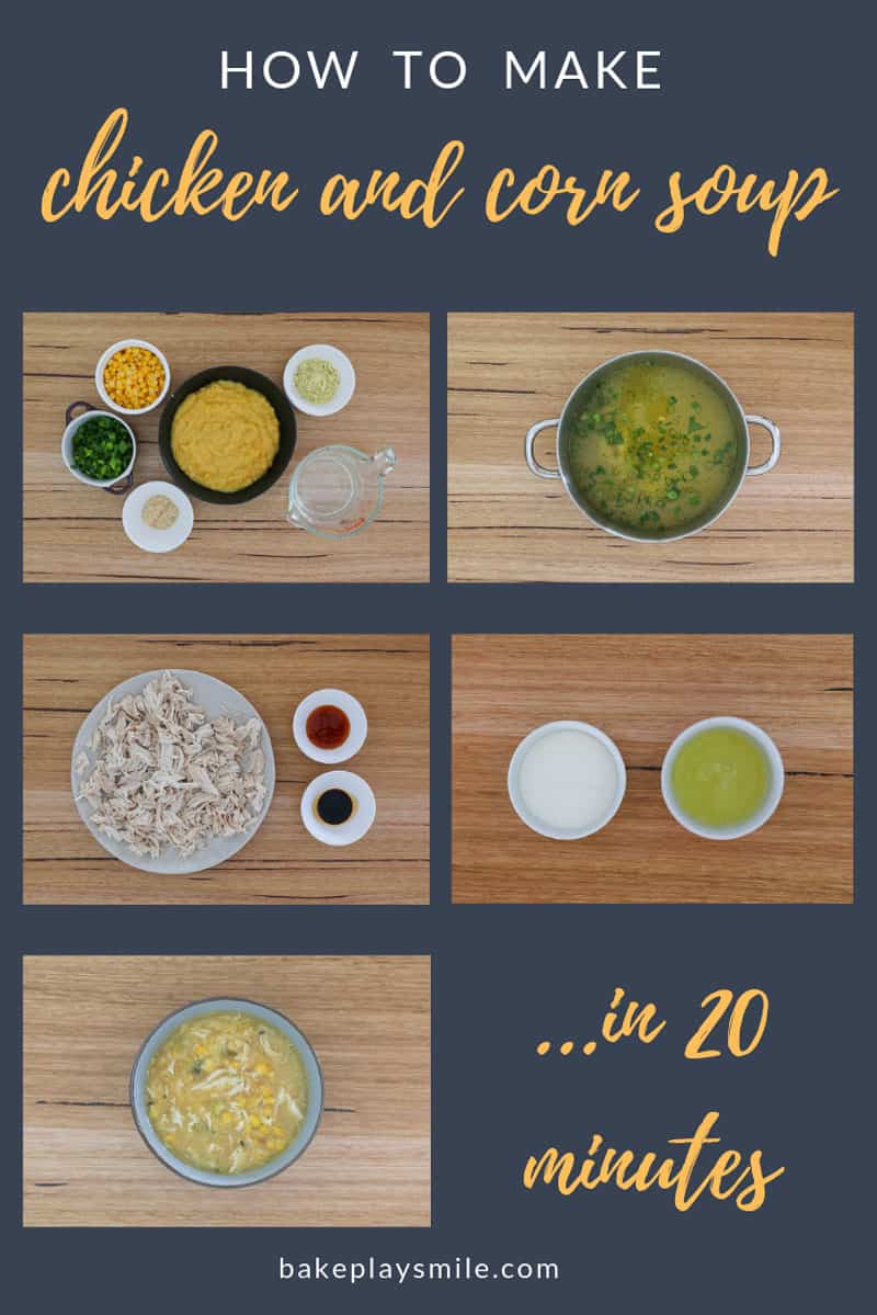 The steps to making a traditional Chinese chicken and corn soup using a bbq chicken.