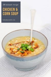 Simple Chinese Chicken & Corn Soup made in just 20 minutes... a super healthy recipe that's perfect for an easy lunch or a quick weeknight dinner.