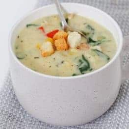 A healthy Creamy Chicken & Vegetable Soup made with absolutely no-cream! The perfect cold and flu fighting soup during winter!