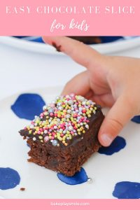 A super easy chocolate slice with chocolate icing and sprinkles... a good old fashioned favourite with the kids (and adults too!).