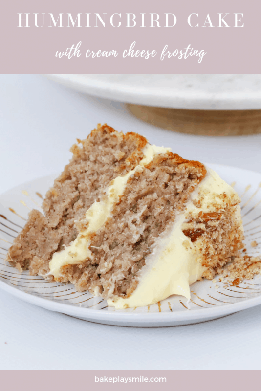 A classic two layer banana, pineapple and pecan hummingbird cake withdelicious cream cheese frosting - the perfect afternoon tea treat.