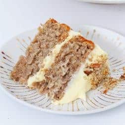 A classic two layer banana, pineapple and pecan hummingbird cake with delicious cream cheese frosting - the perfect afternoon tea treat.