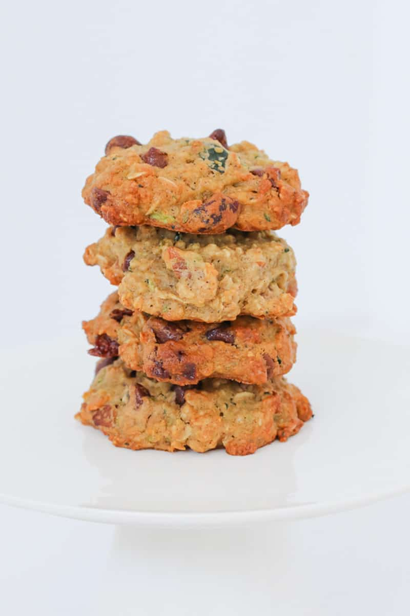 A stack of healthy cookies made with grated zucchini to keep them moist and chewy.