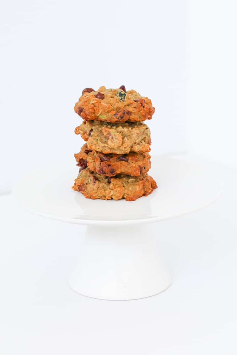 A stack of cookies made with zucchini and oats.