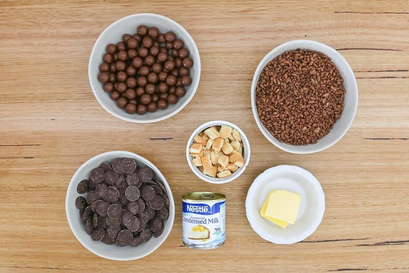 The ingredients for a no-bake chocolate crackle slice with Maltesers.