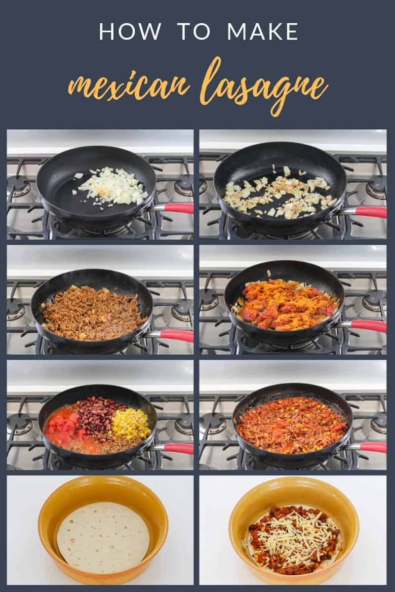 Step by step guide to making mexican lasagne in the frying pan and then baking in the oven.
