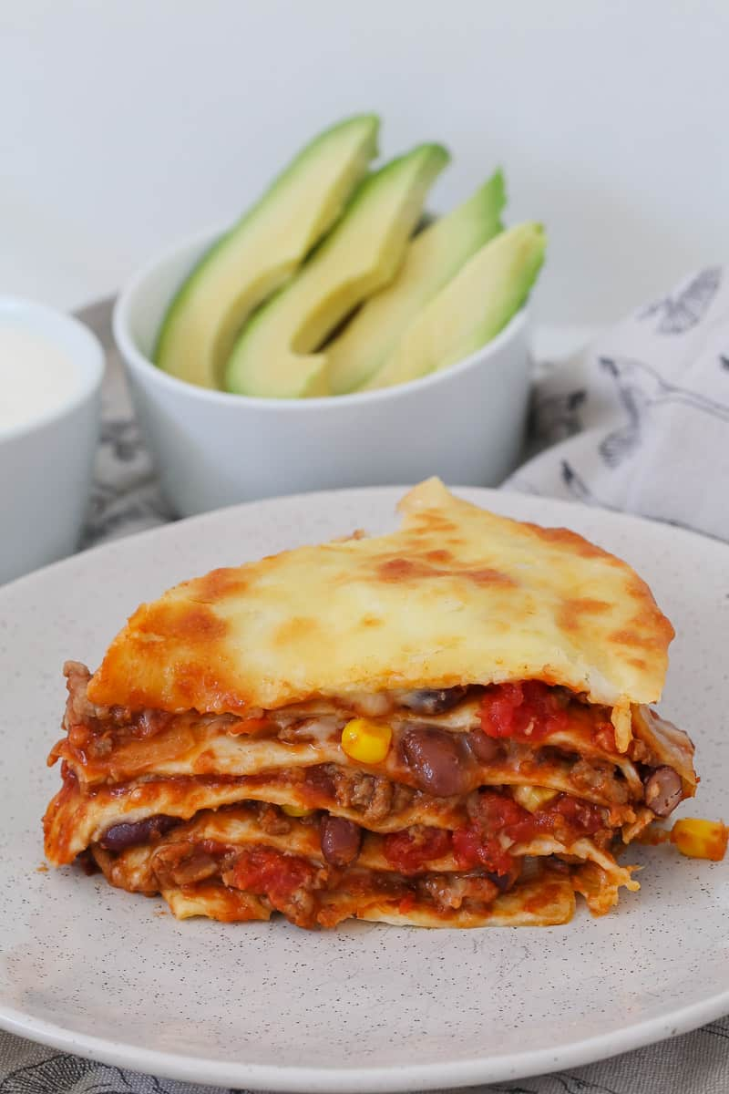 A cheesy beef lasagne stack made with flour tortillas.