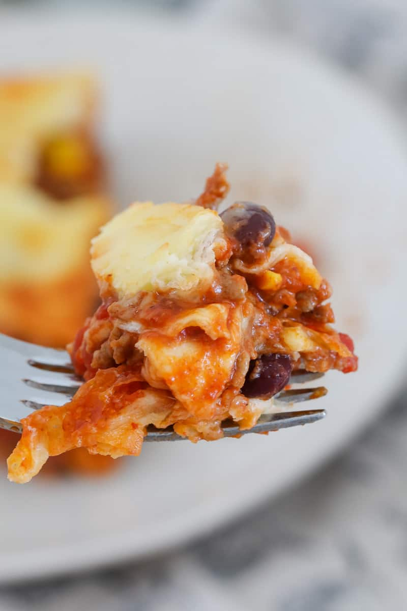 A forkful of mexican beef lasagne.