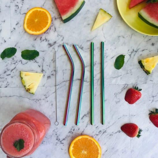 MontiiCo Rainbow Stainless Steel Straw Set