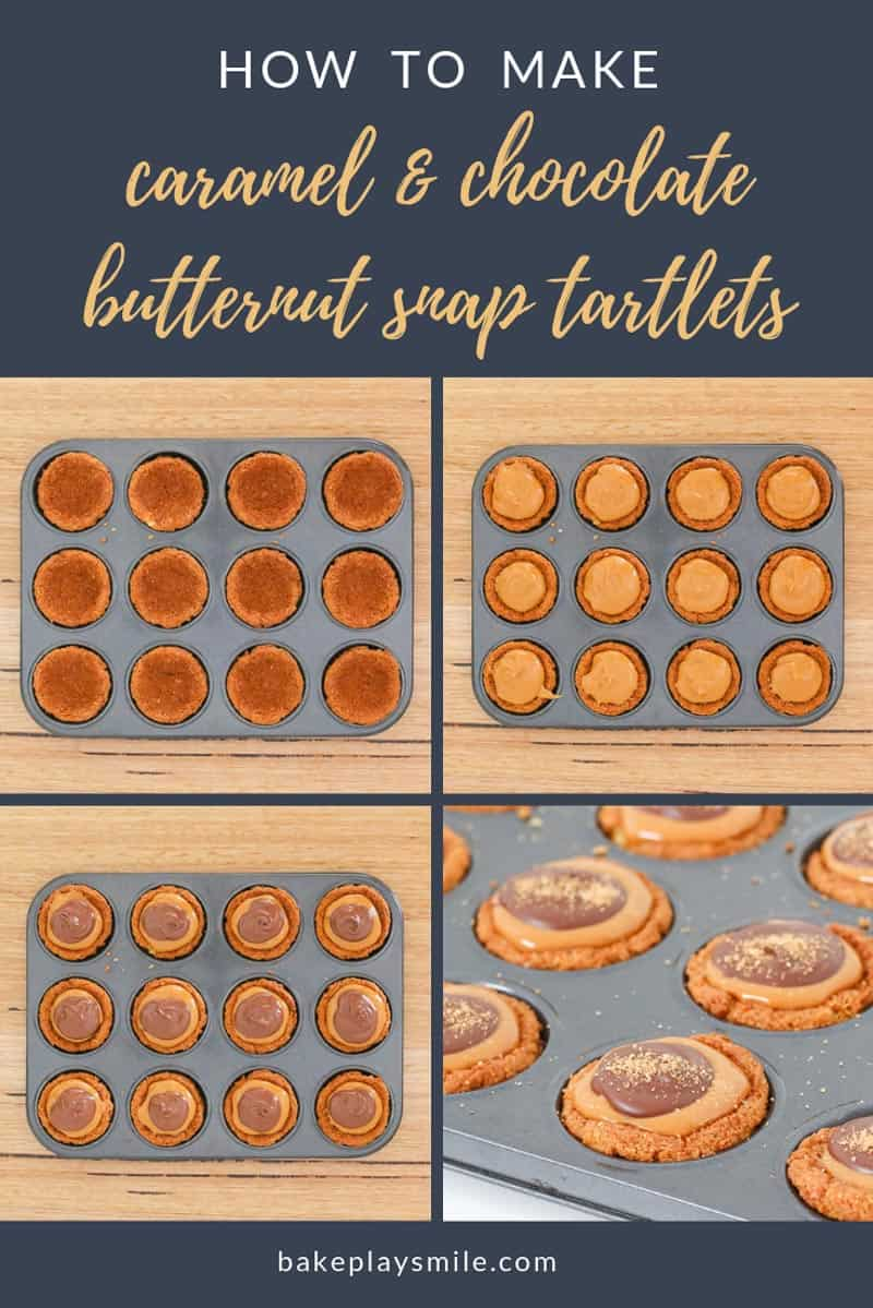 How to make chocolate and caramel butternut snap tartlets.