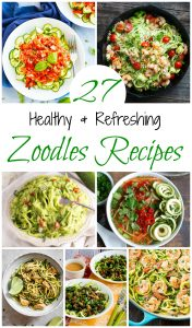 A collection of low carb, low calorie and healthy zoodles recipes made using spiralized zucchini as an alternative to pasta.