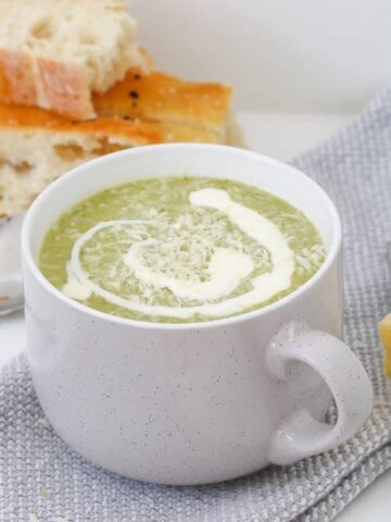 A healthy and creamy zucchini soup recipe that will be ready in less than 30 minutes! The perfect way to use up zucchinis!