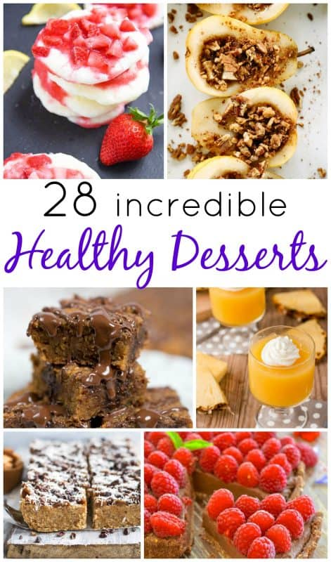 A collection of 28 healthy dessert recipes - including lightened-up cheesecakes, low fat cakes, low carb bars... and more!