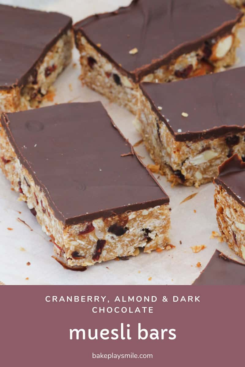 Our sweet and crunchy Almond, Cranberry & Dark Chocolate Muesli Bars are always a family favourite!