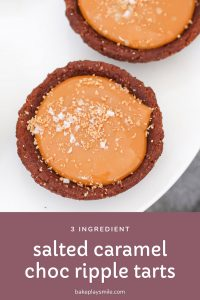 Our super easy 3 ingredient Salted Caramel Chocolate Ripple Tarts take just 10 minutes to make! All you need is chocolate cookies, thick caramel & sea salt.