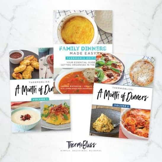 Three Thermomix Family Dinner cookbooks.