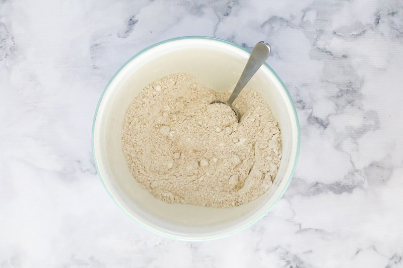 Flour mixture in a mixing bowl.