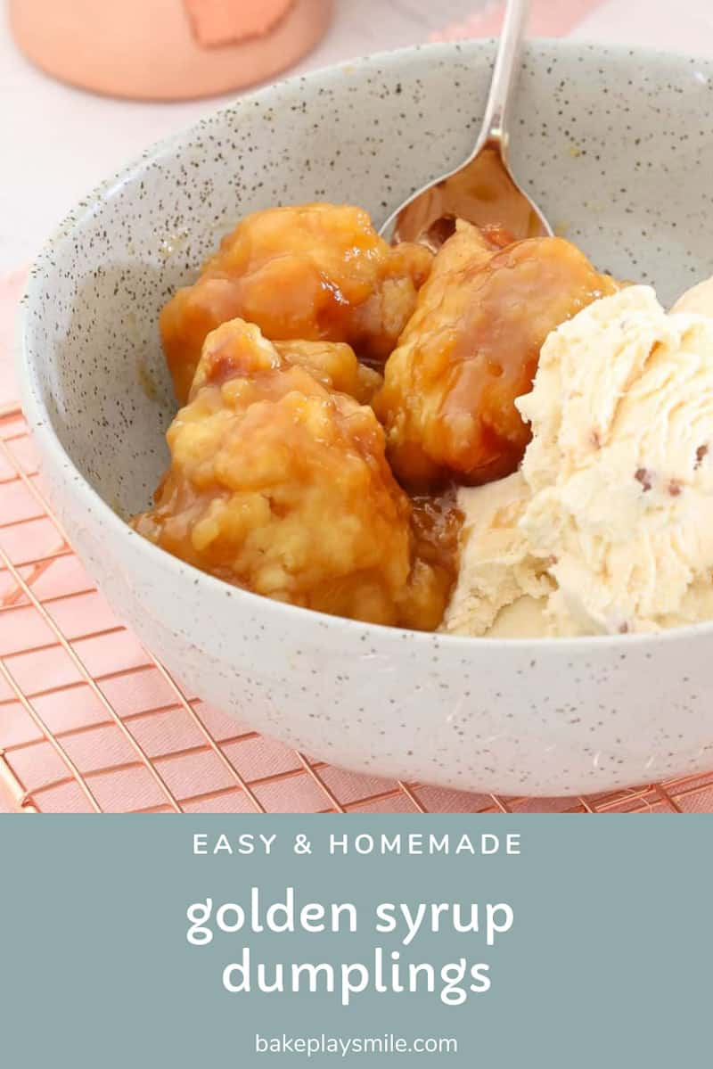 A bowl of golden syrup dumplings with ice-cream.