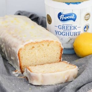 A lemon and yoghurt loaf made with greek yoghurt and covered in a lemon icing glaze.