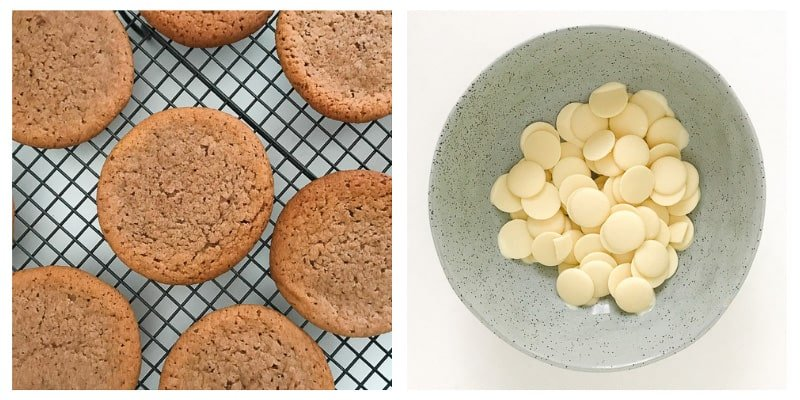 Milo biscuits cooling on a rack and a bowl of white chocolate melts.