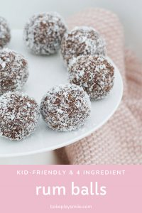 A plate of rum balls suitable for kids.