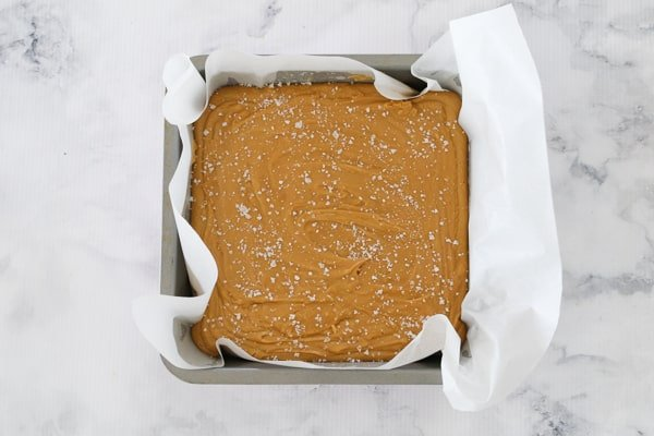 Salted caramel fudge in a baking tin.