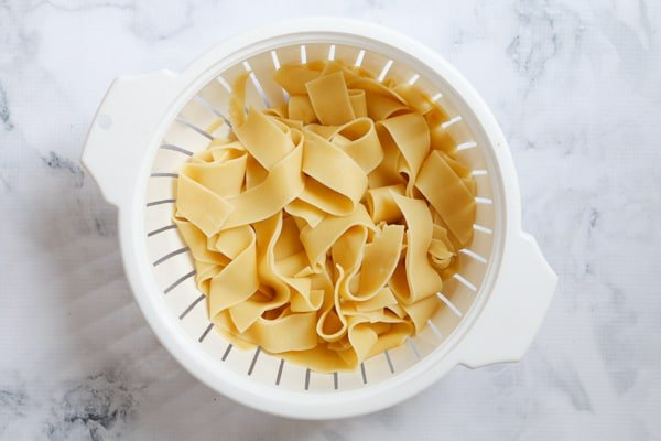 Cooked egg pasta.