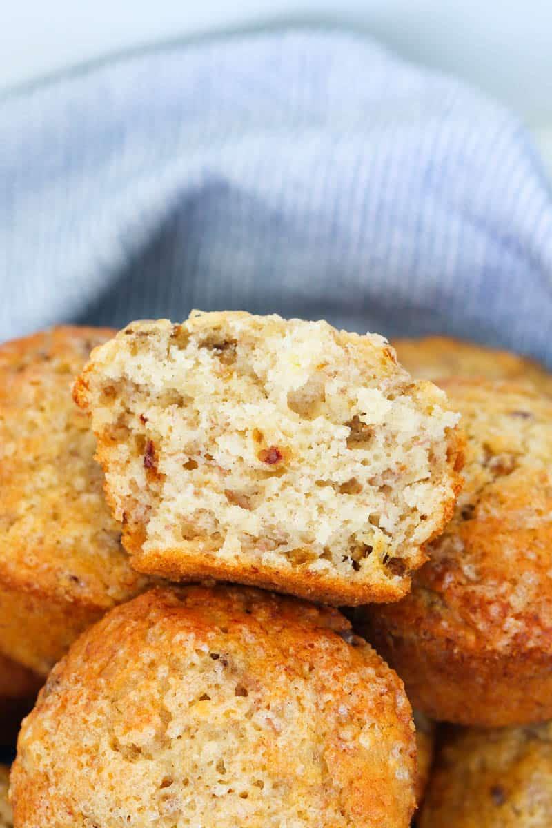 A half-eaten lunchbox muffin.