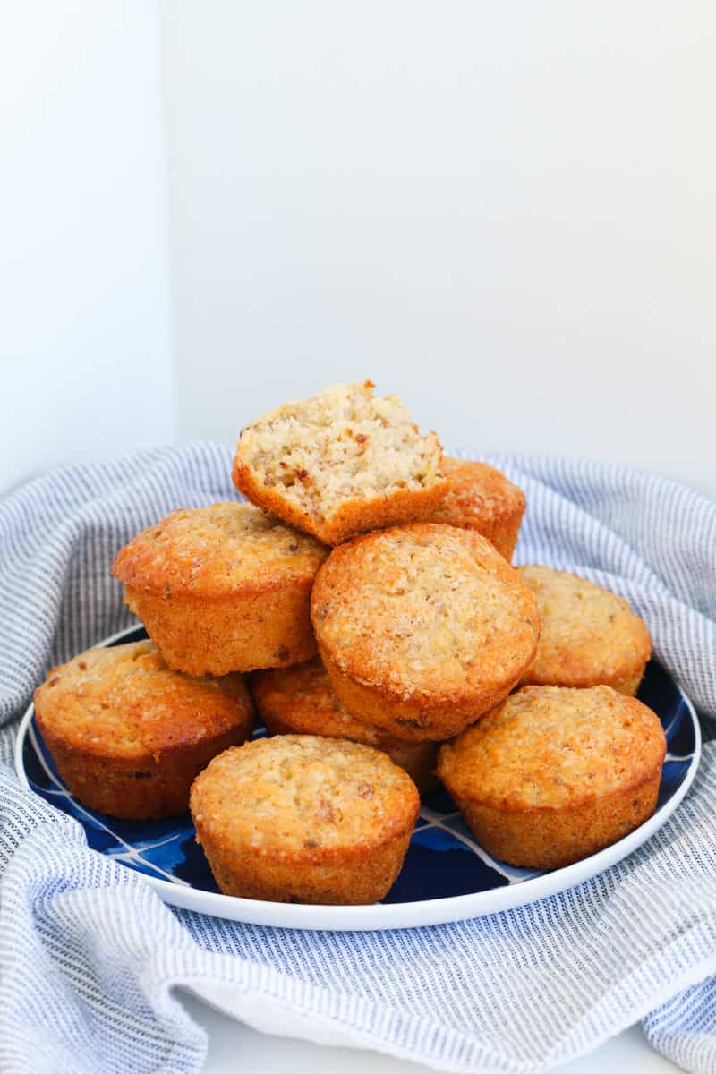 ABCD Muffins on a blue plate.
